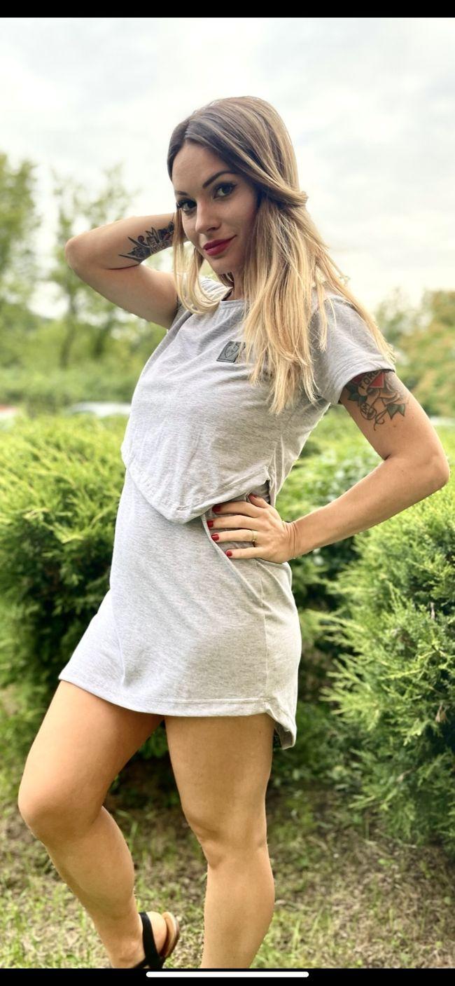 Asymetrické kojící tričko Grey Melange (krátký rukáv) - Jako máma