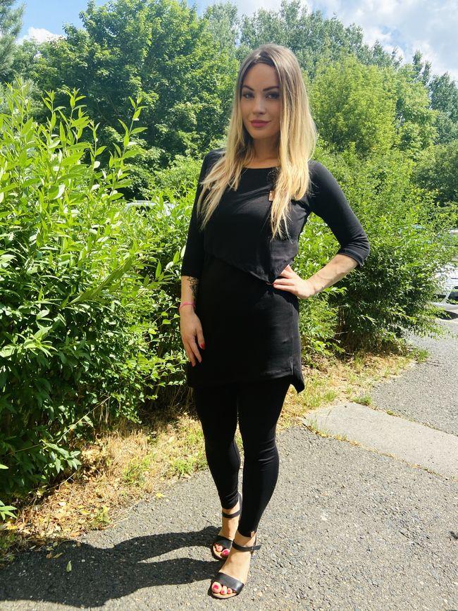 Asymetrické kojící tričko Black (tříčtvrteční rukáv) - Jako máma