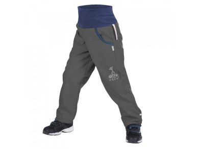 Softshellové kalhoty s fleecem tm. šedé - Unuo