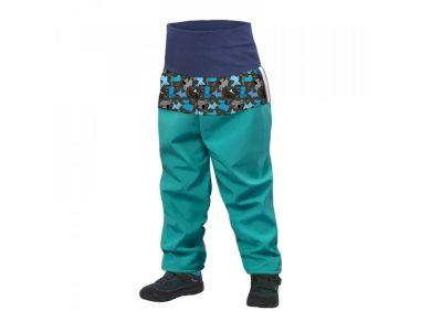 Batolecí softshellové kalhoty s fleecem, sv. smaragdová, pejsci - Unuo