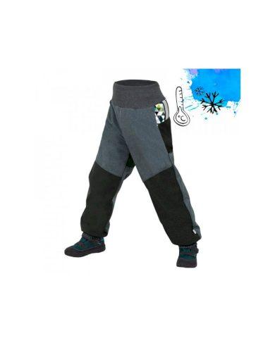 Dětské softshellové oteplovačky s fleecem, černá, žíhaná antracit, metricon kluk - Unuo