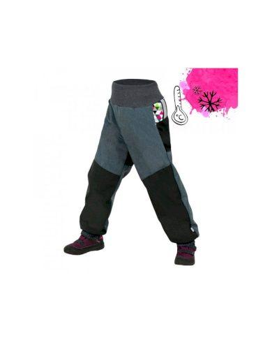 Dětské softshellové oteplovačky s fleecem, černá, žíhaná antracitová, metrikon holka - Unuo