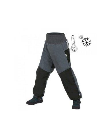 Dětské softshellové oteplovačky, černá, žíhaná antracitová - Unuo s fleecem