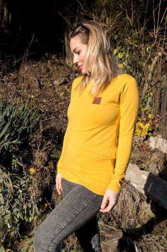 Kojící tričko Mustard (dlouhý rukáv) - Jako máma