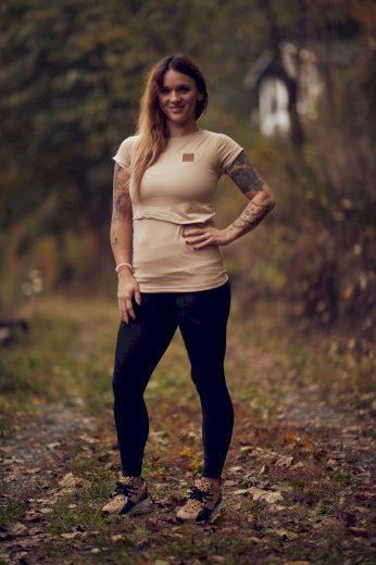 Kojící tričko Beige Organic (krátký rukáv) - Jako máma