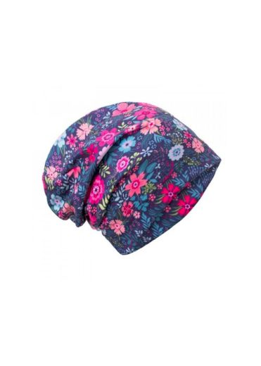 Dětská čepice fleece spadený Květinky - Unuo