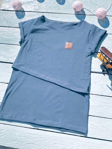 Kojící tričko Blue Organic (krátký rukáv) - Jako máma