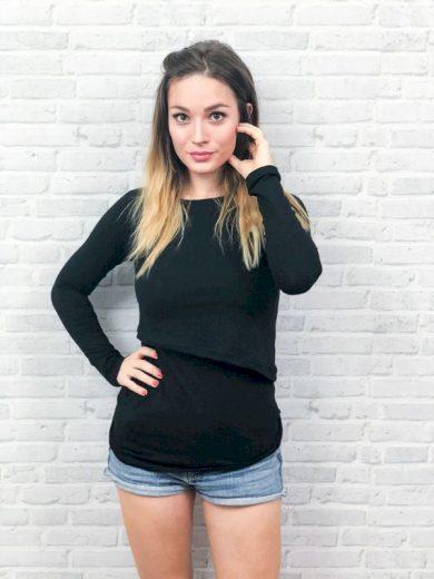 Kojící tričko Black (dlouhý rukáv) - Jako máma
