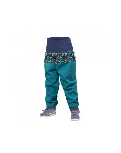Batolecí softshellové kalhoty bez zateplení, smaragdová, pejsci - Unuo