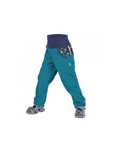 Dětské softshellové kalhoty bez zateplení, smaragdová, pejsci - Unuo