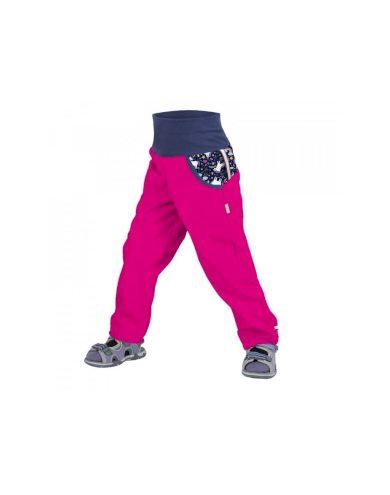 Dětské softshellové kalhoty bez zateplení, fuchsiová, jednorožci - Unuo