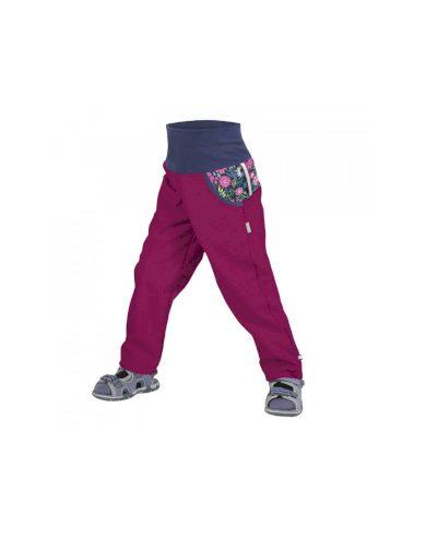 Dětské softshellové kalhoty bez zateplení, tm. růžová, malinová, květinky - Unuo