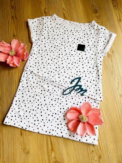 Kojící tričko Dots White (krátký rukáv) - Jako máma