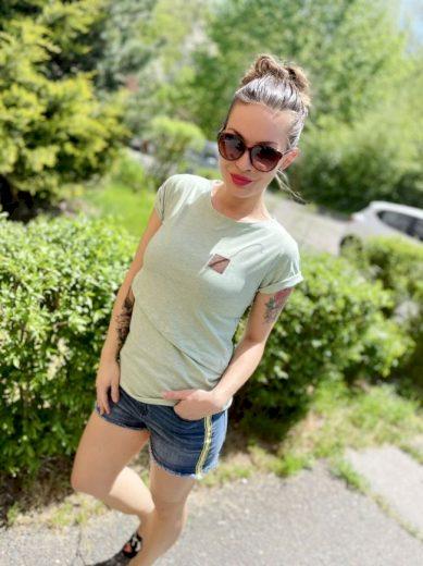 Kojící tričko Green Melange (krátký rukáv) - Jako máma