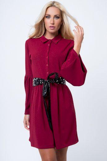 Košilové šaty se zapínáním do pásu na knoflíky, vínové: