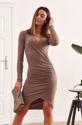 Šaty s výstřihem, dlouhým rukávem a asymetrickým střihem, béžové: