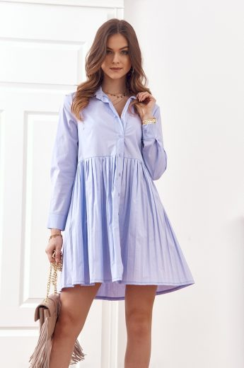 Oversize, košilové šaty se zapínáním na knoflíky, fialová: UNIWA