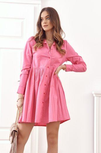 Oversize, košilové šaty se zapínáním na knoflíky, růžová: UNIWA