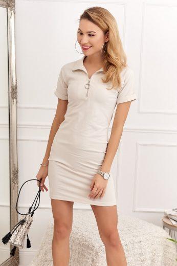 Bavlněné, béžové šaty s krátkým rukávem: