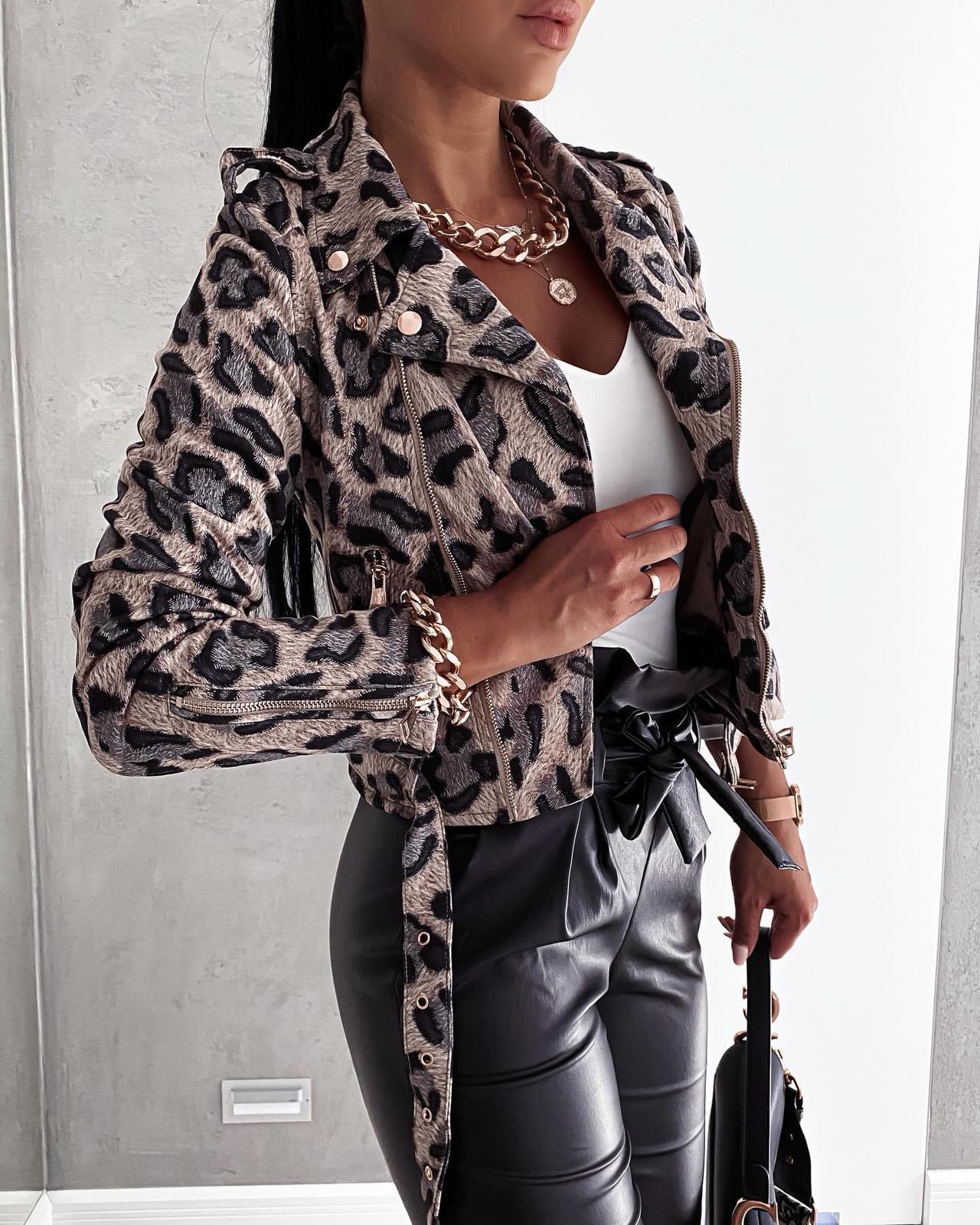 Dámská koženková bunda s jemnou srstí / leopard