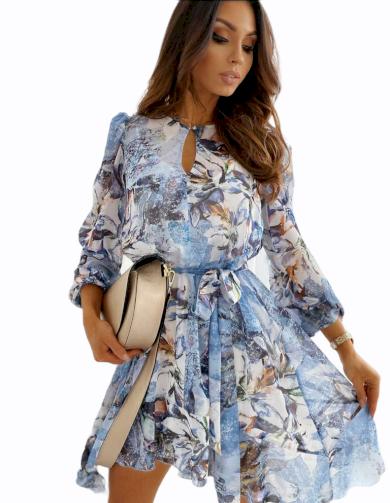 Šaty asymetrické s květy / modré