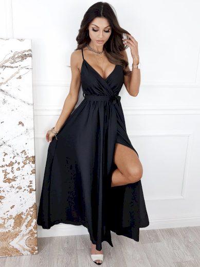 Dlouhé elegantní šaty s rozparkem / černé
