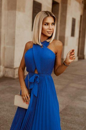 Dámské šaty plisováné ELLA / Modré