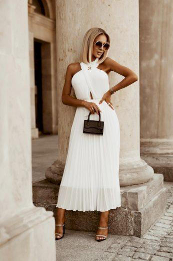 Dámské šaty plisováné ELLA / Bílé