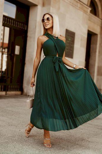 Dámské šaty plisováné ELLA / zelená