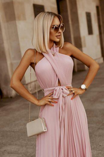 Dámské šaty plisováné ELLA / světle růžová