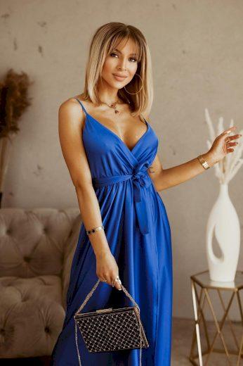 Dlouhé elegantní šaty s rozparkem / Modré