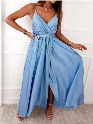 Dlouhé elegantní šaty s rozparkem / světle modré