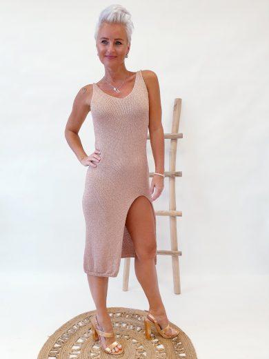 Dámské šaty s rozparkem GIORGIA / Růžově zlaté