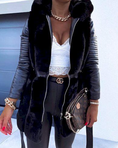 Dámská koženková bunda s chlupem podzimní / černá