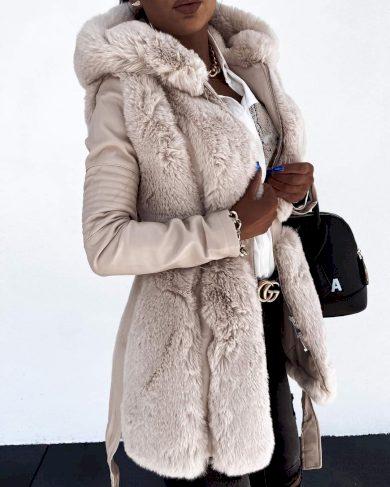 Dámská koženková bunda s chlupem podzimní / beige