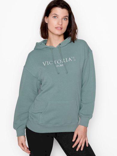 Victoria's Secret mikina s kapucí Fleece Pulover / Dark Seafoam