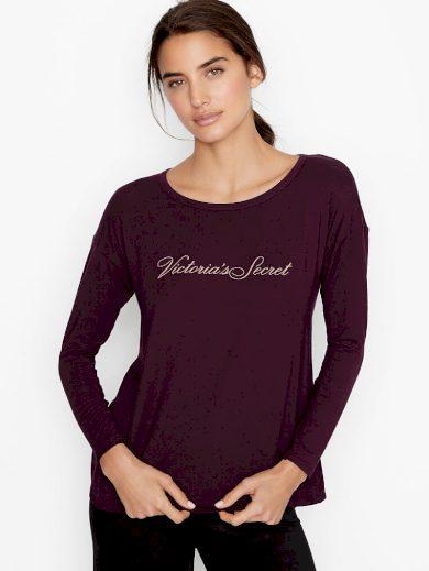 Victoria's Secret tričko dámské s výstřihem na zádech / fialové