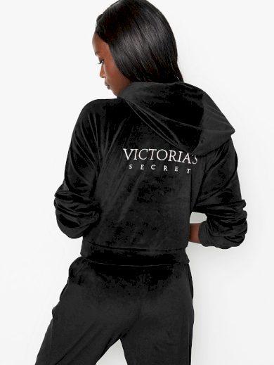 Victoria's Secret dámská Velourová mikina s kapucí / ČERNÁ