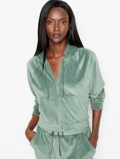 Victoria's Secret dámská Velourová mikina s kapucí / zelená