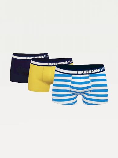 Tommy Hilfiger 3-PACK Organic Cotton boxerky - Desert Sky/Prim Yelow/Hoop Stripe