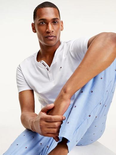 Tommy Hilfiger pánské tričko z organické bavlny HENLEY - Bílé