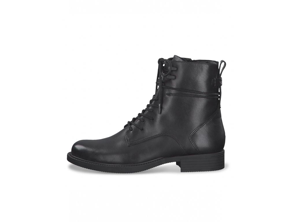 Tamaris dámská kožená kotníková šněrovací obuv 1-25243-25 black