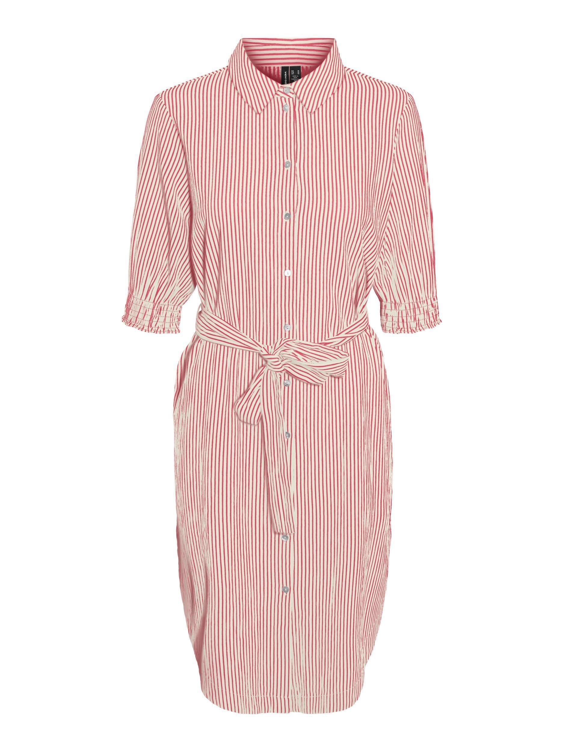 Vero Moda dámské pruhované šaty Annabelle s vázačkou červené