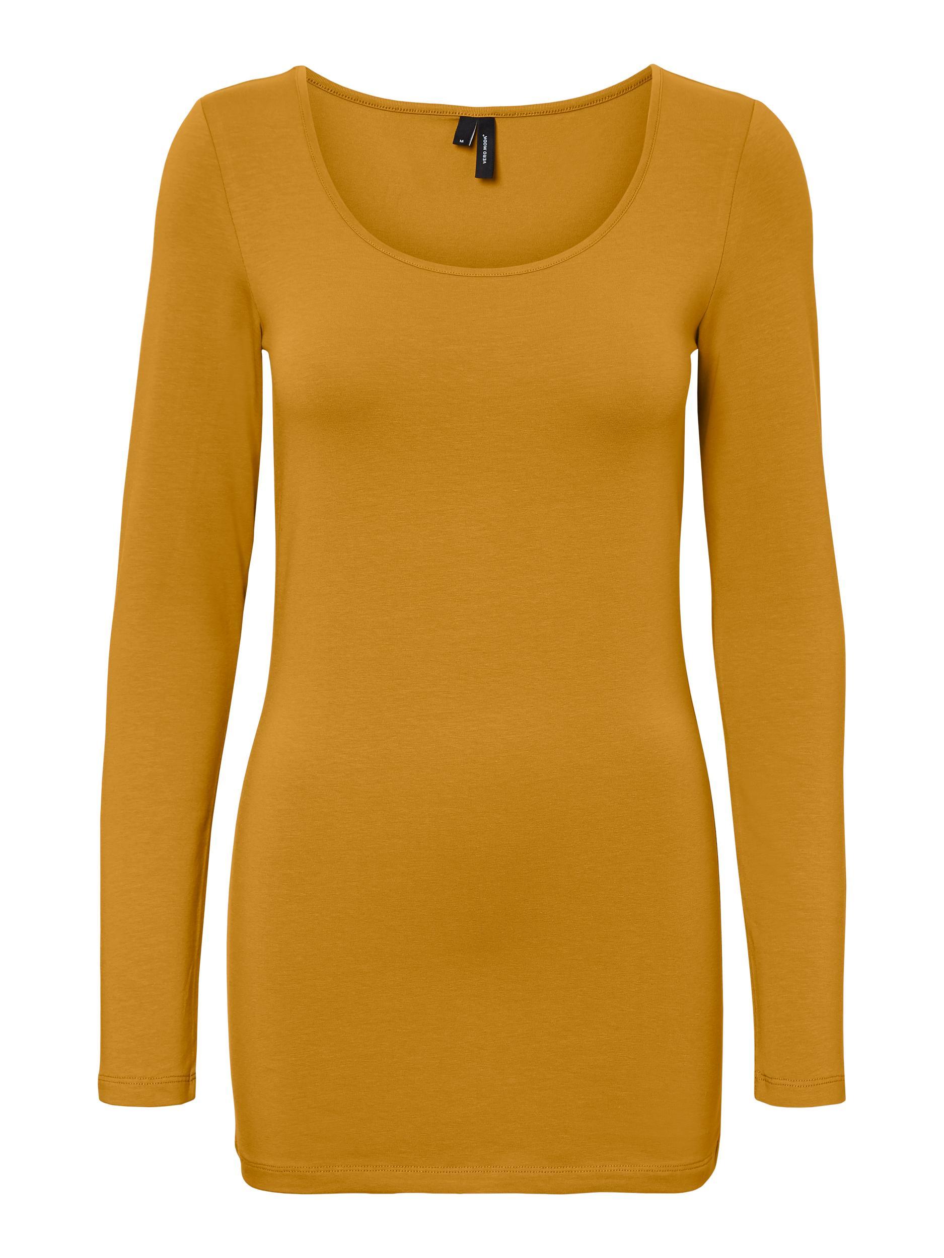 Vero Moda dámské prodloužené triko Maxi dlouhý rukáv hořčicové