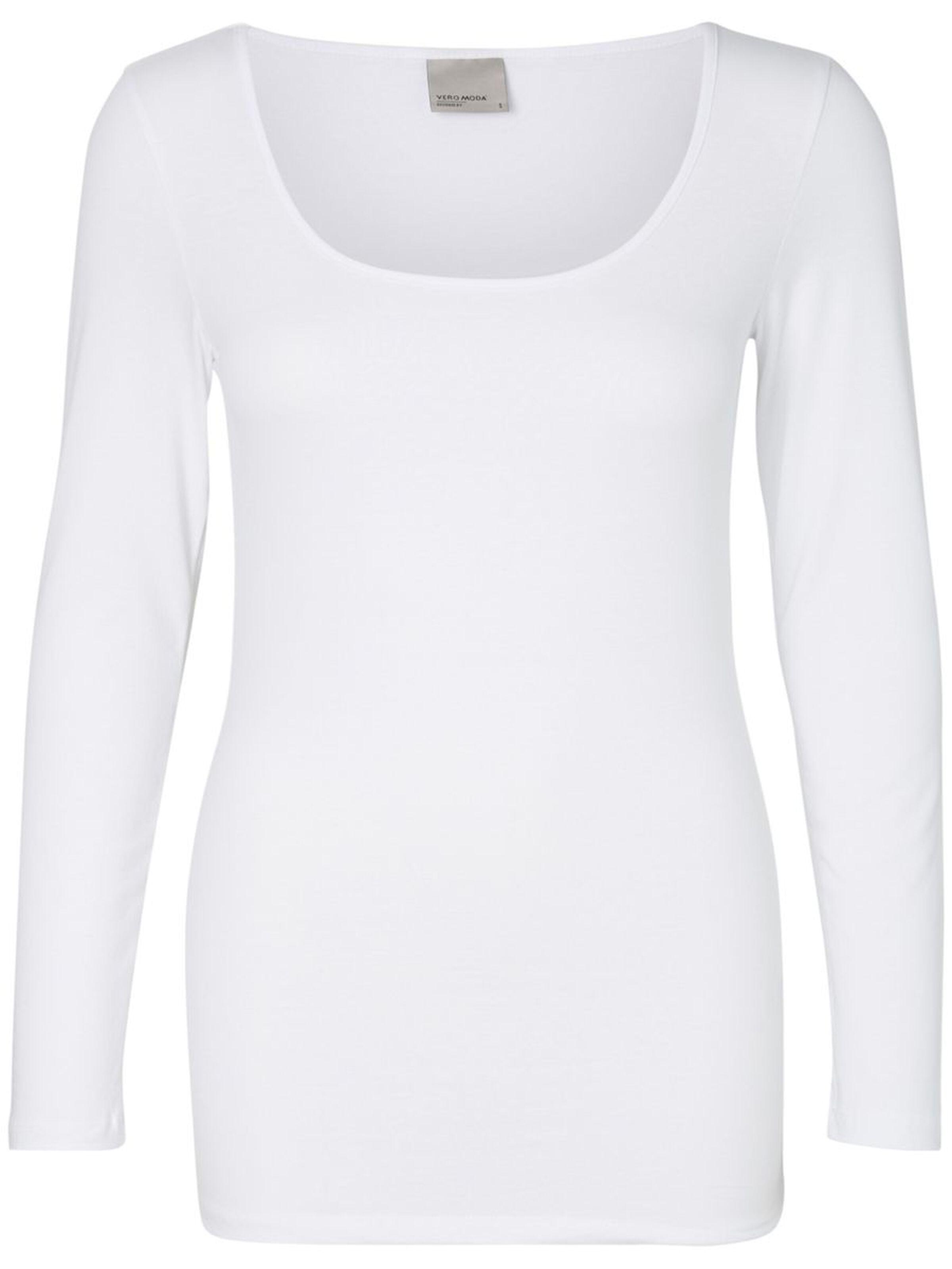 Vero Moda dámské prodloužené triko Maxi dlouhý rukáv bílé