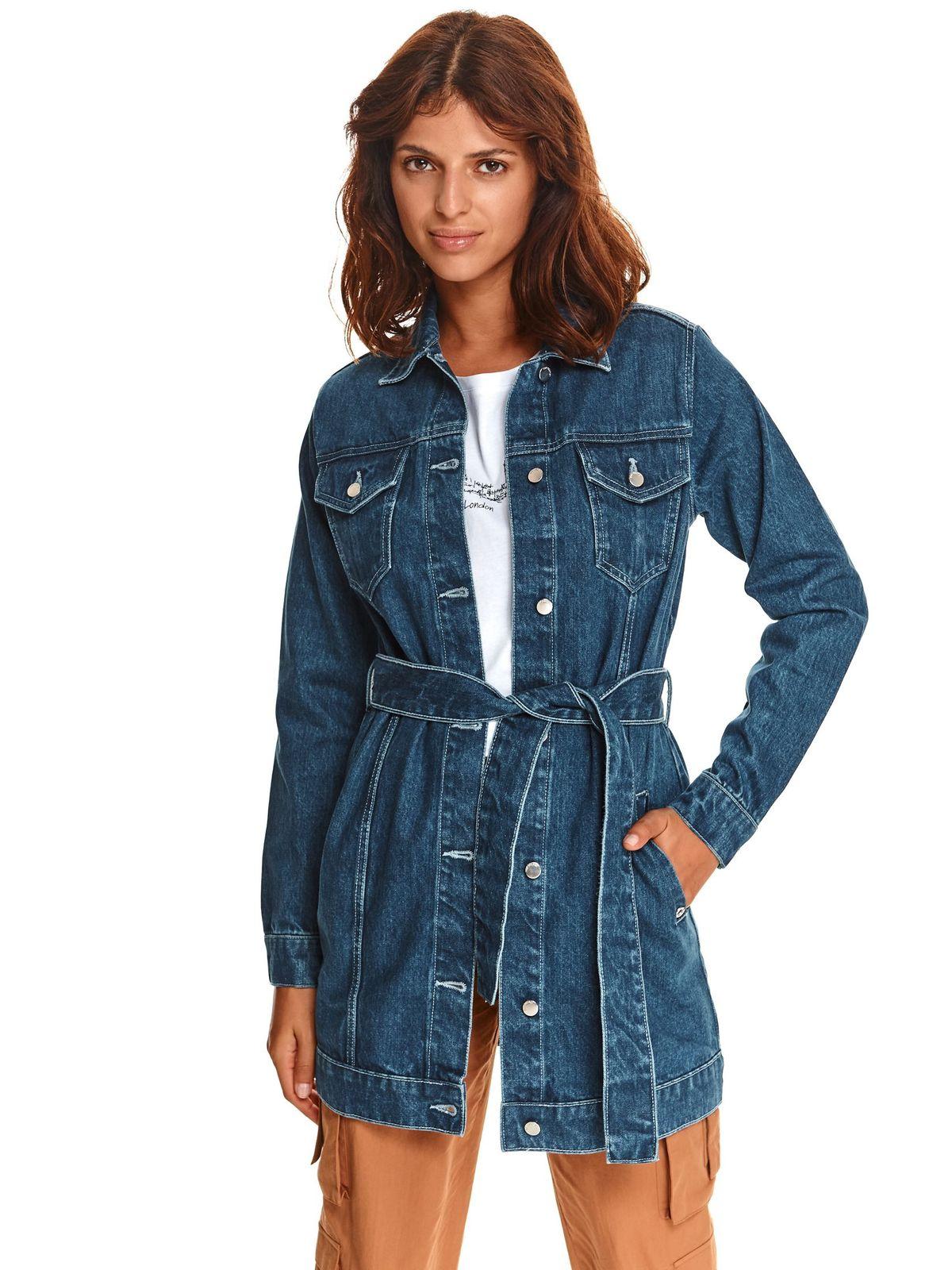 Top Secret dámská prodloužená džínová bunda modrá