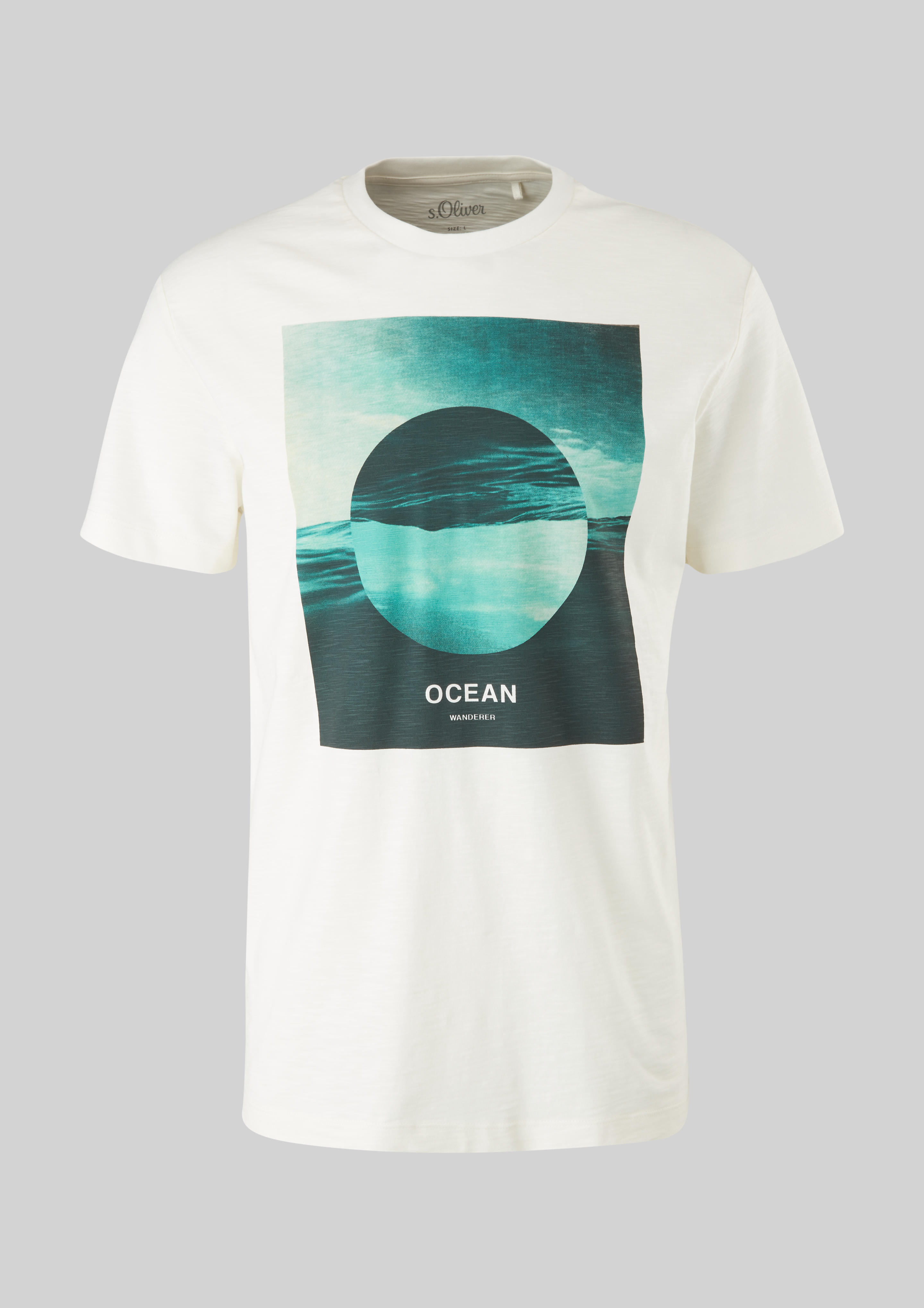 s.Oliver pánské triko s potiskem ocean wanderer smetanové