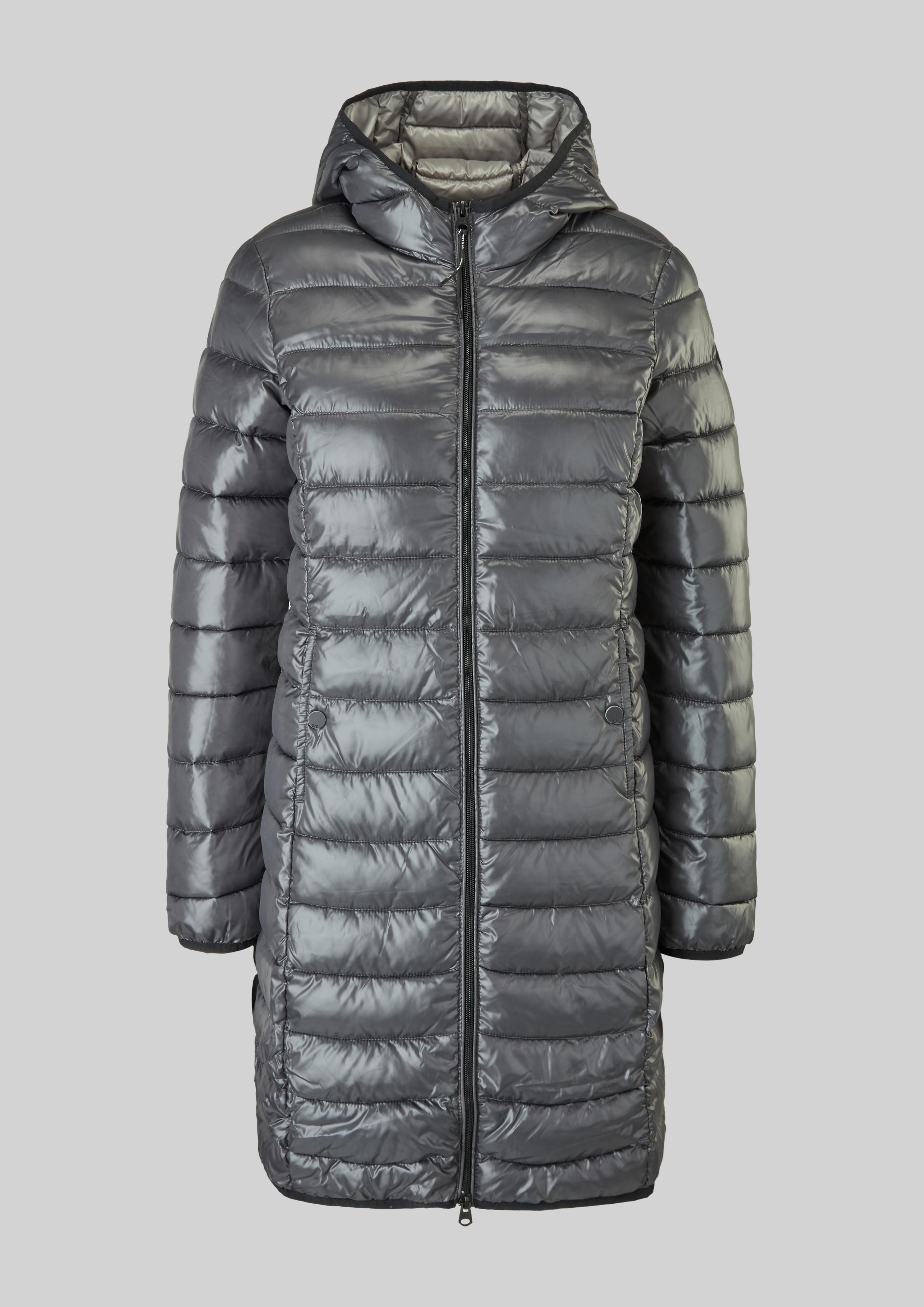 Q/S s.Oliver dámský lehký prošívaný kabát s kapucí šedý