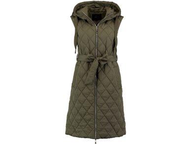 Hailys dámská lehká prodloužená vesta Ellen s kapucí khaki