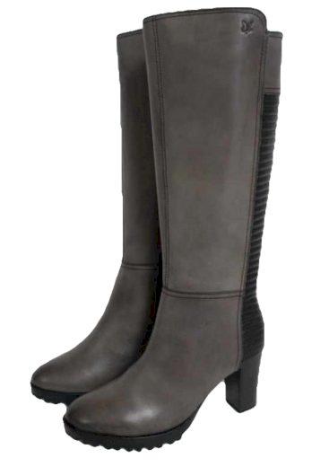 Caprice kožené kozačky na vysokém podpatku 9-26522-25 šedé/černé